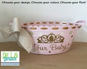 Personalized scalloped oval metal bucket, tub, Baby or Easter gift basket, name with princess crown, tiara or other design, rhinestone bling