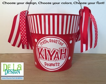 Personalized metal bucket: 2 quart pail, peanut or popcorn bag design, match your Circus birthday party, or Elephant Halloween costume, gift