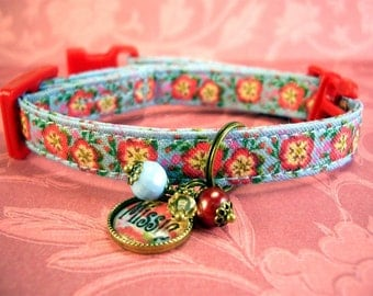 Safety Cat Collar - Mini Dog Collar - Breakaway Collar - Personalized Collar - Red Flowers - Gemstone Charm - Toy Dog Collar