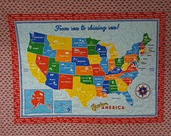 Quilted Wall Hanging - United States Map with Patriotic Borders - Educational Child Decor