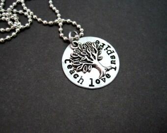 Teacher's Gift - Teach Love Inspire - Hand Stamped Necklace - Unique Gifts for Teachers - Teacher Gift - Teacher Necklace