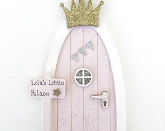 Personalised fairy door pink magical elf door miniature for Princess fairy door