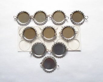 10 Flattened Bottle Caps with Two Split Rings Attached and Premium Epoxy Stickers Kit, Flattened Bottle Caps with Two Split Rings Attached