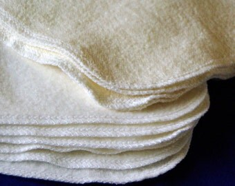 Single Layer Baby Wipes Mixed Set of Bamboo Fleece and Hemp French Terry, Organic Washcloths, Set of 10 8x8, Pick your edge color