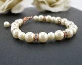 Ivory and Rose Gold Bridesmaid Bracelet, Ivory Pearl and Rose Gold Bracelet with Rhinestones & Extender, Ivory Rose Gold Wedding Jewelry