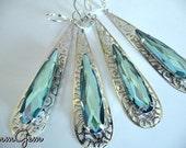 Wedding earrings, teardrop earrings, something blue, silver blue earrings, blue, filigree, earrings, teardrop,  modern wedding, wedding