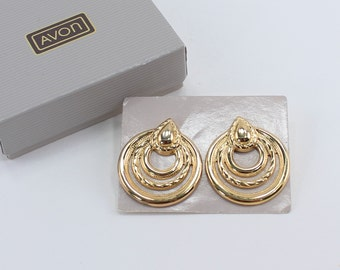 SALE 10 PERCENT Off Vintage 1988 Signed Avon Stylish Hoop Door Knocker Gold Tone Polished Rope Twist Pierced Earrings in Original Box NIB