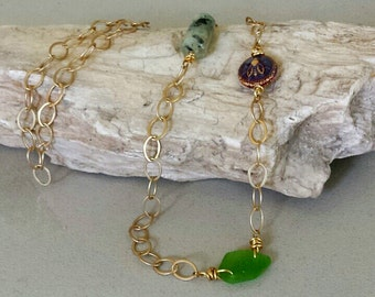 Bronze Chain- California Sea Glass- Mood Bead- Quartz Necklace