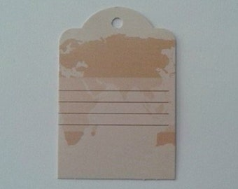 World Map Gift Tag Set of 3