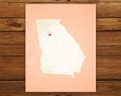 Customized Georgia 8 x 10 State Art Print, State Map, Heart, Silhouette, Aged-Look Print