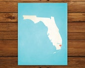 Customized Florida 8 x 10 State Art Print, State Map, Heart, Silhouette, Aged-Look Print