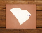 Customized South Carolina 8 x 10 State Art Print, State Map, Heart, Silhouette, Aged-Look Print