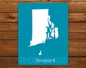 Custom Rhode Island, Personalized State Print, State Love, State Map, Country, Heart, Silhouette, 8 x 10 Wall Art Print