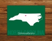 Custom North Carolina, Personalized State Art, State Print, State Love, State Map, Country, Heart, Silhouette, 8 x 10 Wall Art Print