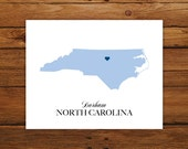 North Carolina State Love Map Silhouette 8x10 Print - Customized