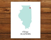 Illinois State Love Map Silhouette 8x10 Print - Customized