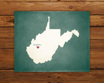 Customized West Virginia State Art Print, State Map, Heart, Silhouette, Aged-Look Print