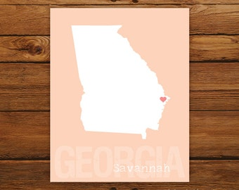 Custom Georgia, Personalized State Print, State Love, State Map, Country, Heart, Silhouette, 8 x 10 Wall Art Print