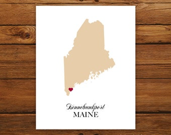 Maine State Love Map Silhouette 8x10 Print - Customized