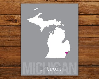 Custom Michigan, Personalized State Print, State Love, State Map, Country, Heart, Silhouette, 8 x 10 Wall Art Print