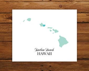Hawaii State Love Map Silhouette 8x10 Print - Customized