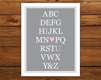 "Alphabet Art I Love You 8x10"" Print in Custom Colors - Typography ABC"