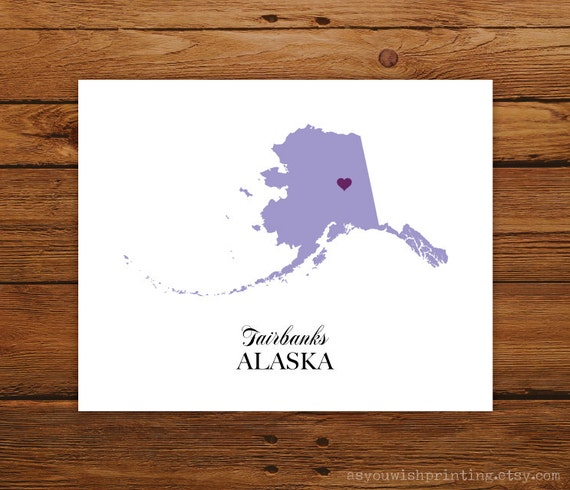 Alaska State Love Map Silhouette 8x10 Print - Customized