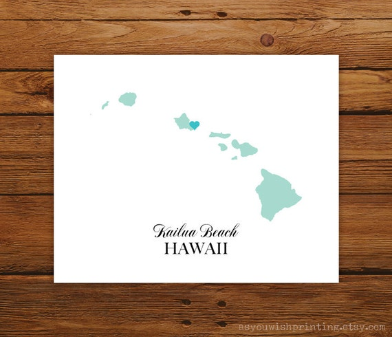 Hawaii State Love Map Silhouette 8x10 Print - Customized