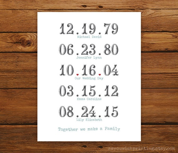 Important Dates 8x10 Print - Together We Make a Family in TYPEWRITER Style
