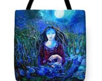 Eostra Holds the Moon- Tote Bag -Unusual, beautiful and useful - durable poly poplin shoulder bag