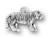 Sterling Silver Tiger Charm Pendant 3D Striped Cat Bengal