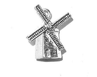 Sterling Silver Windmill Charm Pendant 3D Dutch Holland