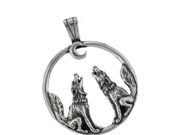 Sterling Silver Wolves Howling at the Moon Pendant Wolf Charm