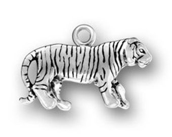 Sterling Silver Bengal Tiger Big Cat Charm Pendant 3D
