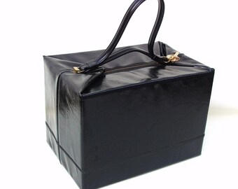Vintage Vinyl Case Black Tote Travel Shoe Box Overnight Bag Cosmetic Storage
