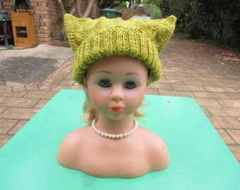 Hand Knitted Green -  Cossack Hat for Baby up to 12 months