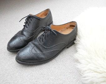 Brogue Oxfords Summer Shoes Black Leather Men's Dress Loafers Size US 10 1/2 EU 44