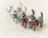 Pearls necklace Cat Fake guage Earrings_silver, dark silver/ animal fake gauge plug earrings, black, white