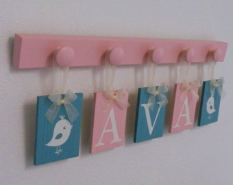 Bird Nursery Decor, Painted Bird, Light Pink / Teal Baby Girl Nursery, Name Plaques Personalized Turquoise / Pink Gift