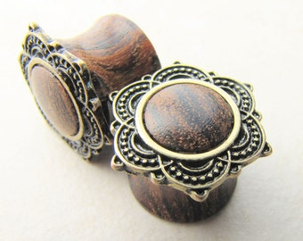 Wood Plugs, Wooden Plugs, Mandala Plugs, Saddle Plugs, Body Jewelry, Ear Stretchers, Body Mods, Body Modification