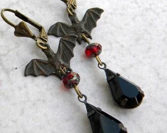 Bat Earrings, Bat Jewelry, Flying Bat Earrings, Bat Statement Earrings