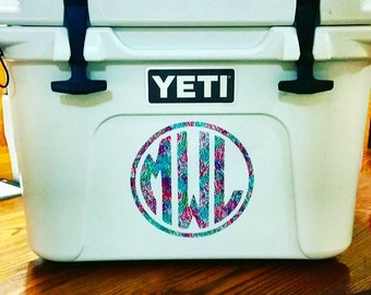 "6"" Oversized Lilly Pulitzer Inspired Monogram Vinyl Decals - Yeti Cooler Monogram"