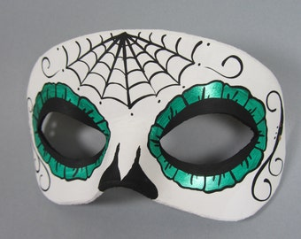 Day of the Dead Green Spiderweb Leather Mask, Unisex