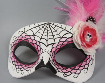 Deluxe Pink Spiderweb Leather Day of the Dead Masquerade Mask, OOAK