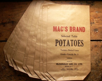 Vintage 'Mac's Brand' Paper Potatoe Sacks - Great Fall Decor!
