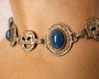 Antique Vintage Blue Lapis Gothic Demons Choker Peruzzi