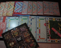 18 Assorted Game Boards, Scrabble, Monopoly, Parcheesi, Clue, Spanish Monopoly, Crafts, Altered Art, Re-purpose, Upcycle