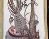 1960s Large 3D Still Life Fruit Faux COPPER  Art Wall Hanging