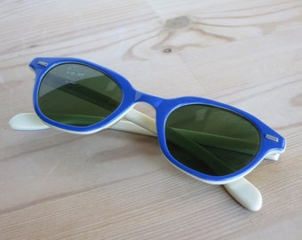 Vintage Willson Sunglasses, 1950s Blue and White Made in USA