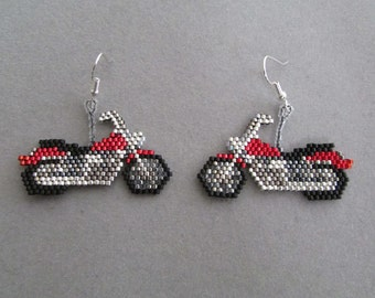 Beaded Red Motorcycle Earrings